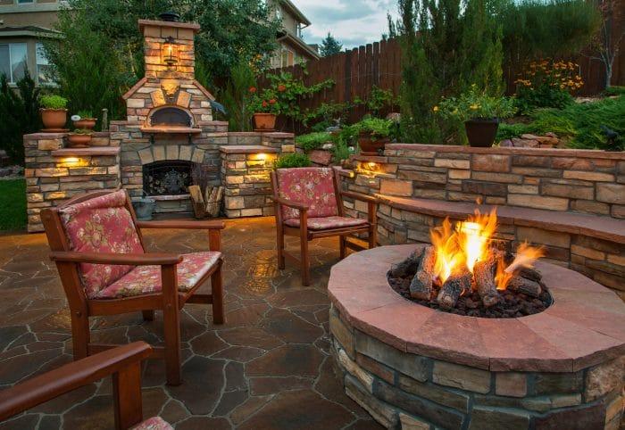 garden patio lighting ideas fire pit