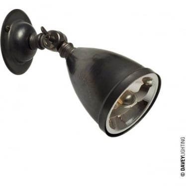 0761 Adjustable Spotlight with Shade & Lamp, Weathered Brass - Low Voltage