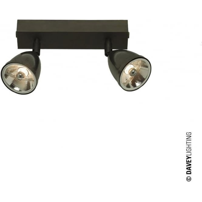 Davey Lighting 0764 Double Spotlight with Shade, Weathered Brass, Mains