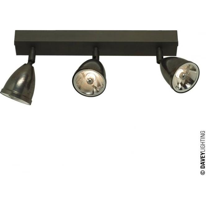 Davey Lighting 0765 Triple Spotlight with Shade, Weathered Brass, Mains