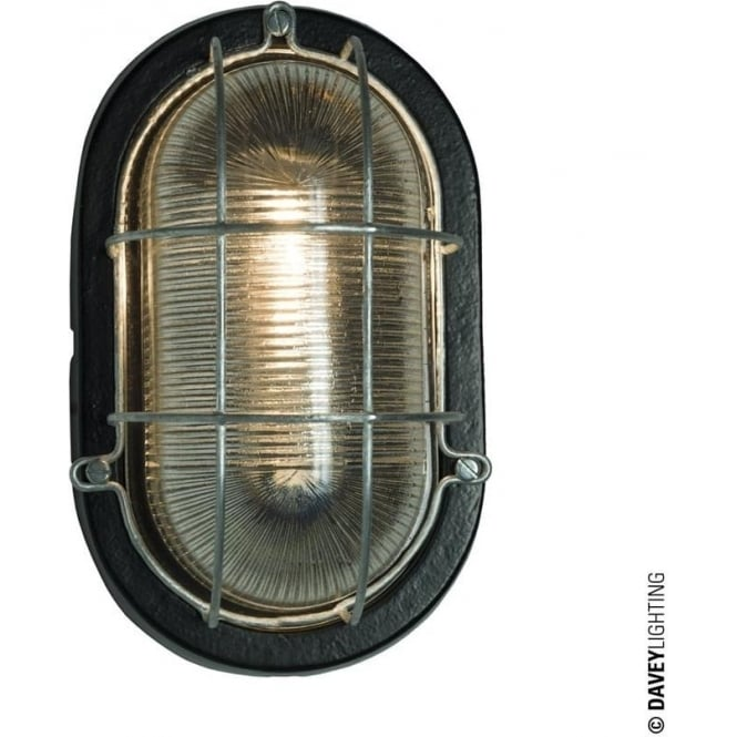 Davey Lighting 7003 Oval Aluminium Bulkhead, Guard, Painted Black