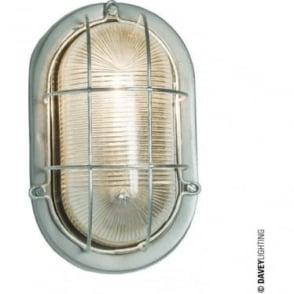 7003 Oval Aluminium Bulkhead with Guard, Painted Silver
