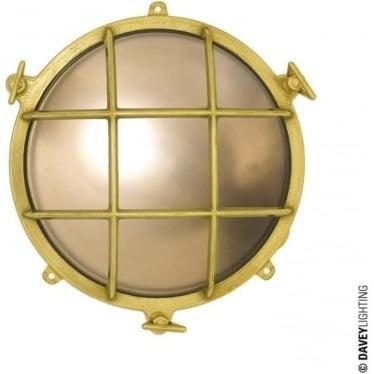 7030 Brass bulkhead with external fixing feet (Diameter 185mm)  Polished Brass