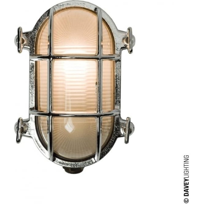 Davey Lighting 7036 Oval brass bulkhead with internal fixing points, Chrome Plated, Small
