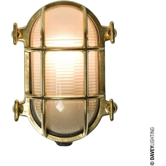 Davey Lighting 7036 Oval brass bulkhead with internal fixing points, Polished Brass, Small
