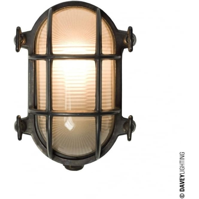 Davey Lighting 7036 Oval brass bulkhead with internal fixing points, Weathered Brass, Small