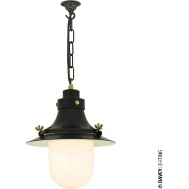 7125 Ship's small decklight Pendant, Black, Opal Glass