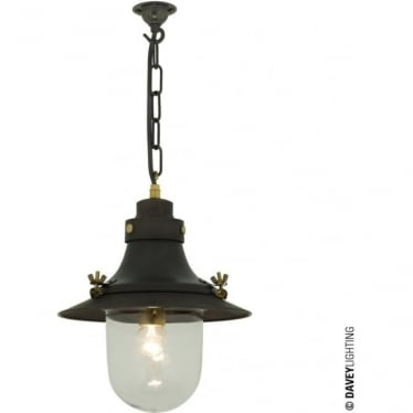 7125 Ship's small decklight Pendant, Weathered Copper, Clear Glass