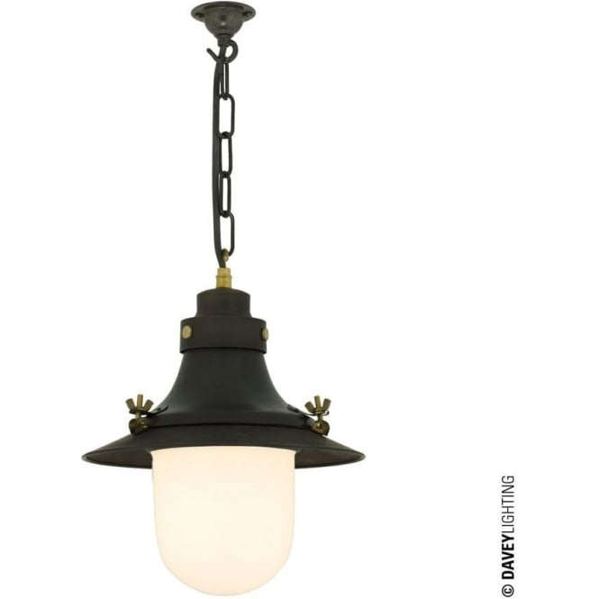 Davey Lighting 7125 Ship's small decklight Pendant, Weathered Copper, Opal Glass