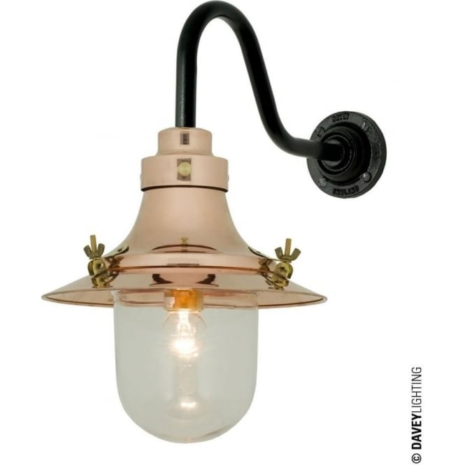 Davey Lighting 7125 Ship's small decklight, Polished Copper, Clear Glass
