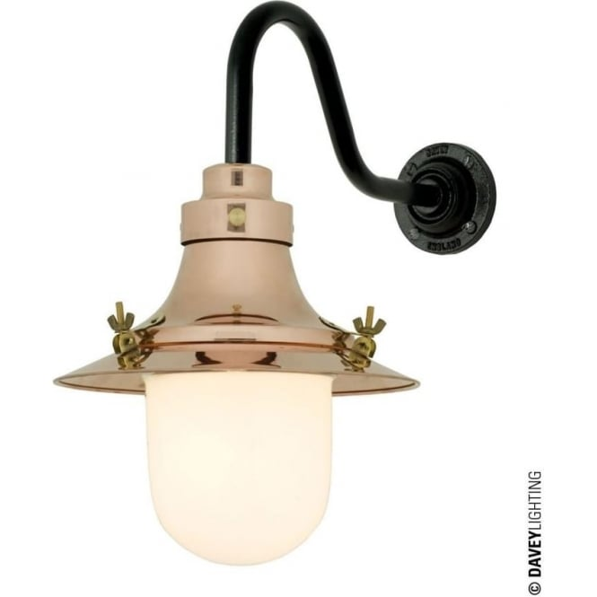 Davey Lighting 7125 Ship's small decklight, Polished Copper, Opal Glass
