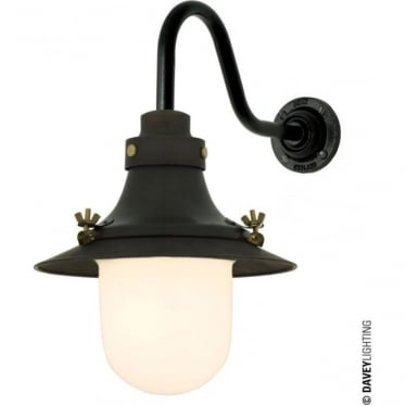 7125 Ship's small decklight, Weathered Copper, Opal Glass