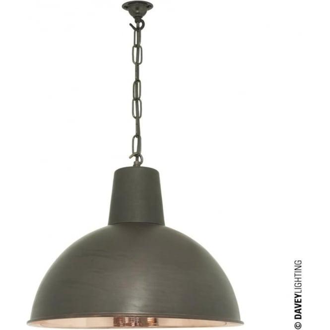 Davey Lighting 7164 Spun Reflector, Medium, Weathered Copper, Polished Copper Interior