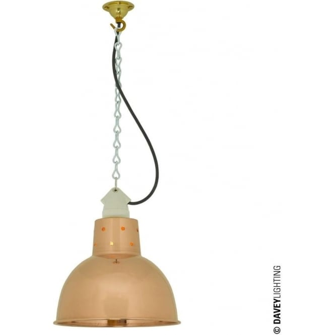 Davey Lighting 7165 Spun Reflector, Small, Ceramic Suspension, Polished Copper