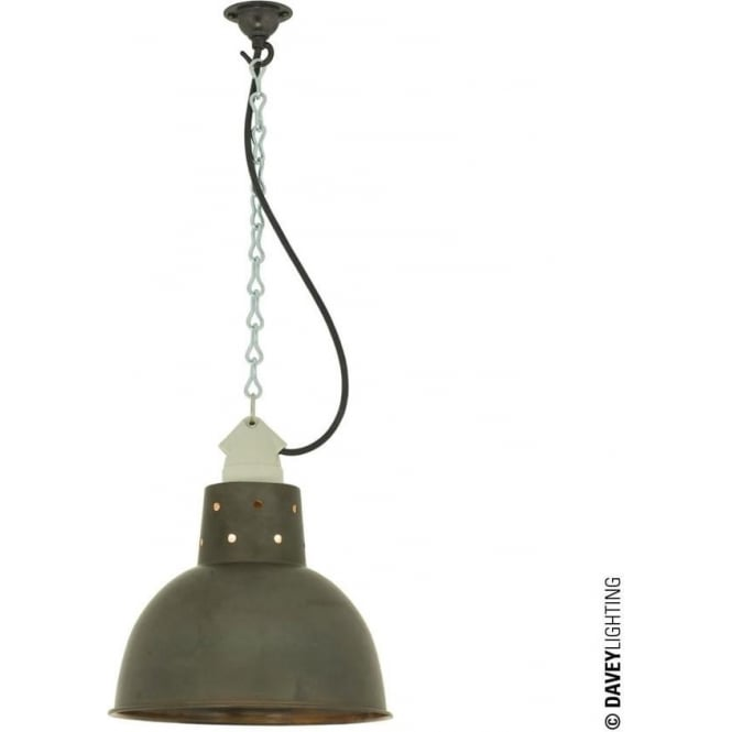 Davey Lighting 7165 Spun Reflector, Small, Ceramic Suspension, Weathered Copper