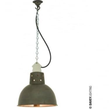 7165 Spun Reflector, Small, Ceramic Suspension, Weathered Copper, Polished Copper Interior