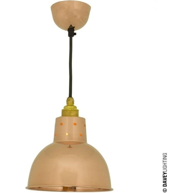 Davey Lighting 7165 Spun Reflector, Small, Cord Grip Lamp holder, Polished Copper