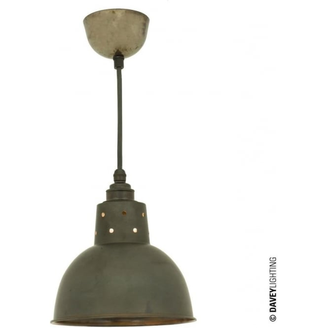 Davey Lighting 7165 Spun Reflector, Small, Cord Grip Lamp holder, Weathered Copper