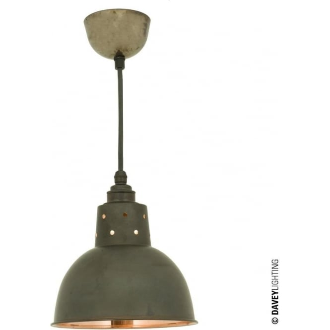 Davey Lighting 7165 Spun Reflector, Small, Cord Grip Lamp holder, Weathered Copper, Polished Copper Interior