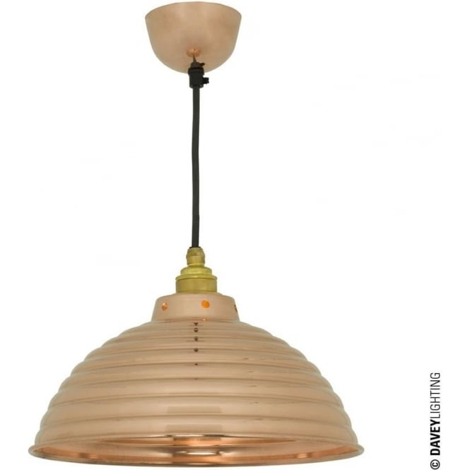 Davey Lighting 7170 Spun Ripple, Cord Grip Lampholder Polished Copper