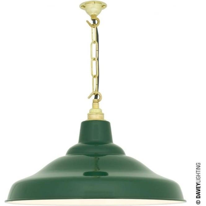 Davey Lighting 7200 School Light, Painted Green, White Interior
