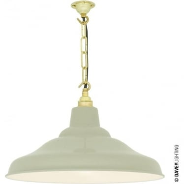 7200 School Light, Painted Putty Grey, White Interior