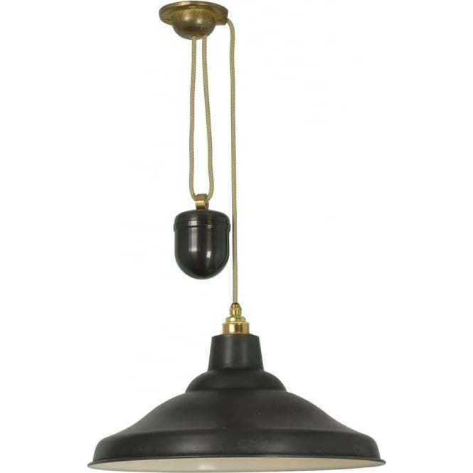 Davey Lighting 7200 School Light Rise & Fall, Weathered Copper, White Interior