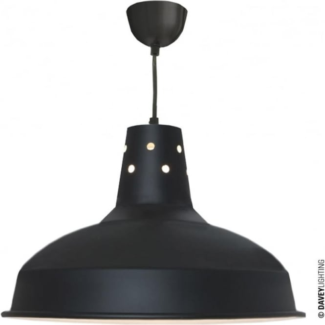 Davey Lighting 7201 Factory Light, Black, White Interior