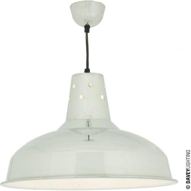 Davey Lighting 7201 Factory Light, Polished Aluminium, White Interior