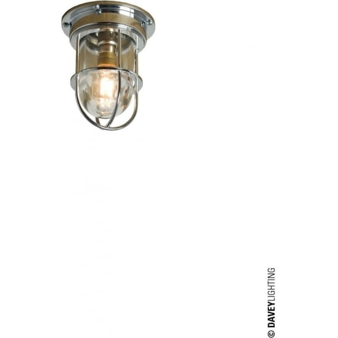 Davey Lighting 7203 ship's campanionway light & Guard, Miniature, Chrome Plated, Clear glass