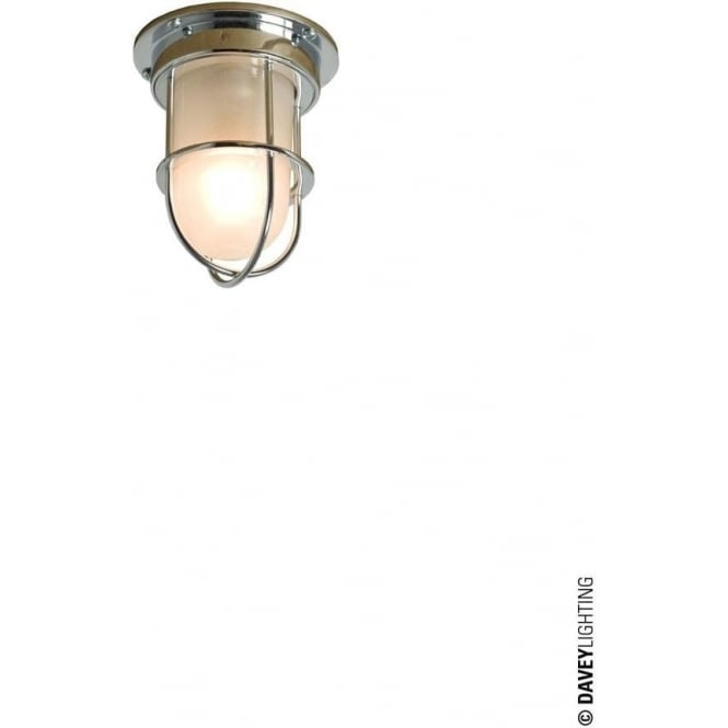 Davey Lighting 7203 ship's campanionway light & Guard, Miniature, Chrome Plated, Frosted glass