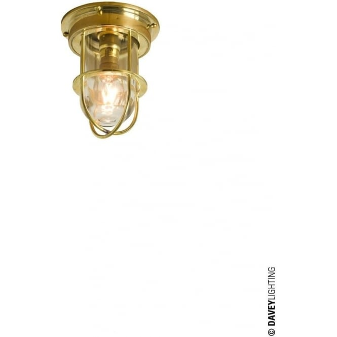 Davey Lighting 7203 ship's campanionway light & Guard, Miniature, Polished Brass, Clear glass