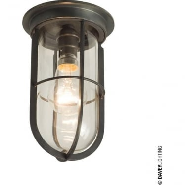 7203 Ship's campanionway light & Guard, Weathered Brass, Clear glass