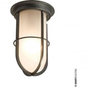 7203 Ship's campanionway light & Guard, Weathered Brass, Frosted glass