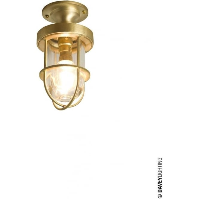Davey Lighting 7204 ship's well glass ceiling light, Miniature, Polished Brass, Clear glass