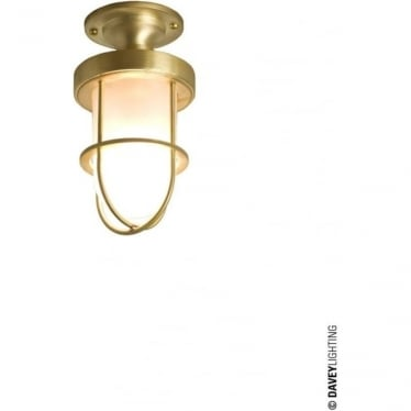 7204 ship's well glass ceiling light, Miniature, Polished Brass, Frosted glass
