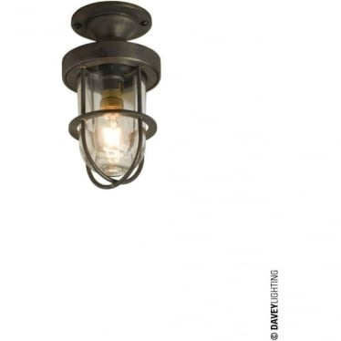 7204 ship's well glass ceiling light, Miniature, Weathered Brass, Clear glass