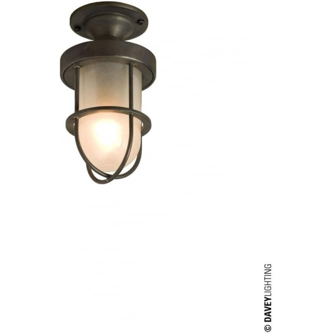 Davey Lighting 7204 ship's well glass ceiling light, Miniature, Weathered Brass, Frosted glass