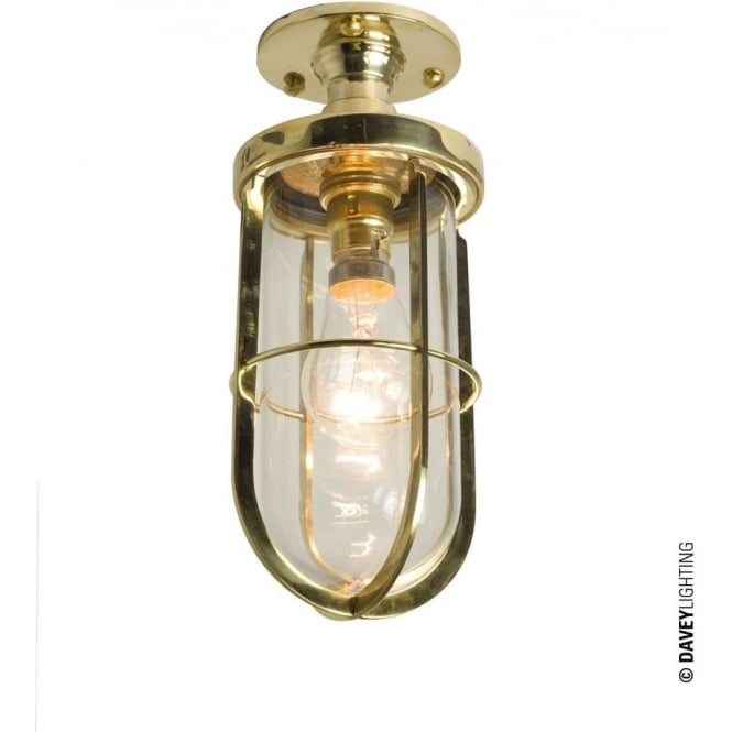 Davey Lighting 7204 Weatherproof Ship's well glass ceiling light, Polished Brass, Clear glass