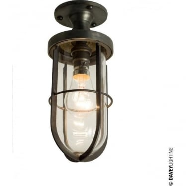 7204 Weatherproof Ship's well glass ceiling light, Weathered Brass, Clear glass