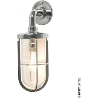 7207 weatherproof Ship's well glass wall light, Chrome Plated, Clear glass