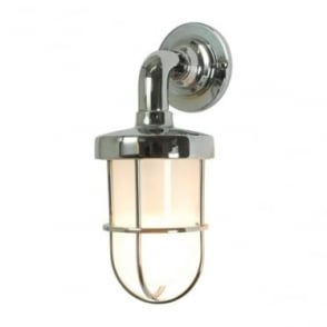 7207 weatherproof Ship's well glass wall light, Miniature, Chrome Plated, Frosted glass