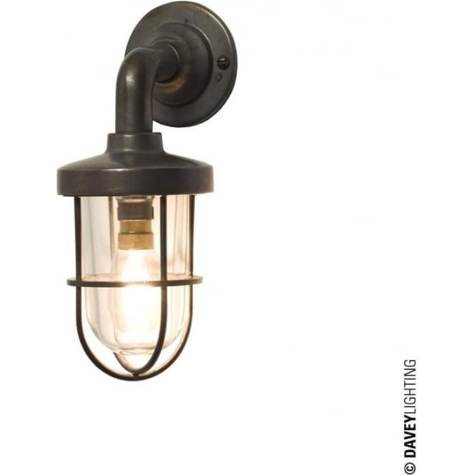 Davey Lighting 7207 weatherproof Ship's well glass wall light, miniature, Weathered Brass, Clear glass