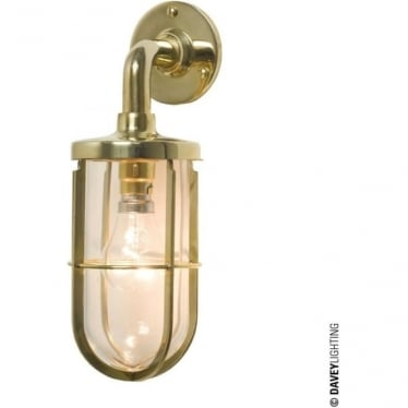7207 weatherproof Ship's well glass wall light, Polished Brass, Clear glass