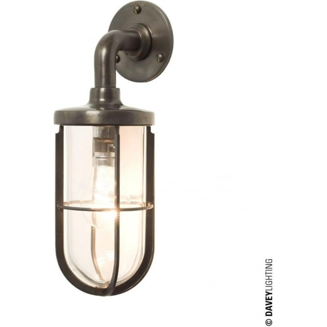 Davey Lighting 7207 weatherproof Ship's well glass wall light, Weathered Brass, Clear glass