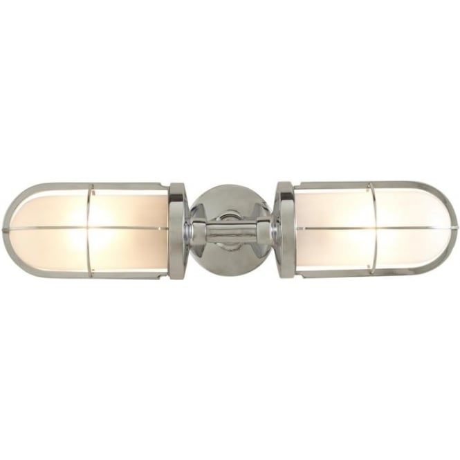 Davey Lighting 7208 Weatherproof Ship's Double Well Glass, Chrome Plated, Frosted Glass