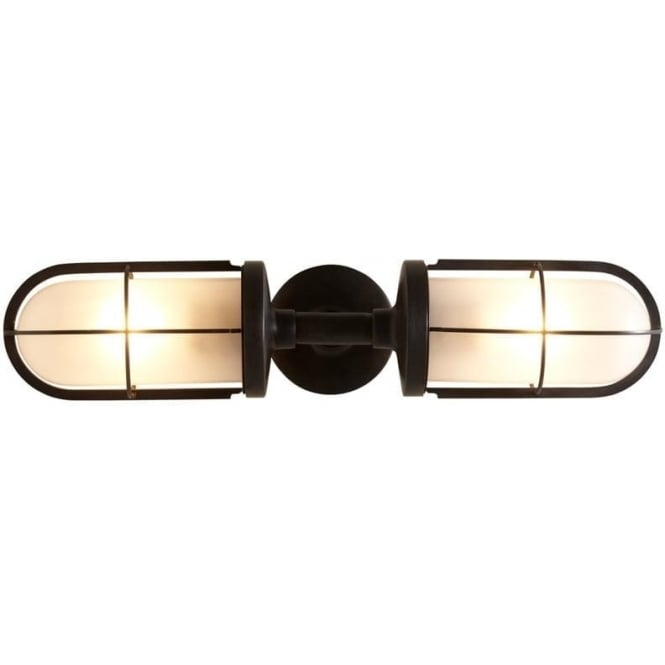Davey Lighting 7208 Weatherproof Ship's Double Well Glass, Weathered Brass, Frosted Glass