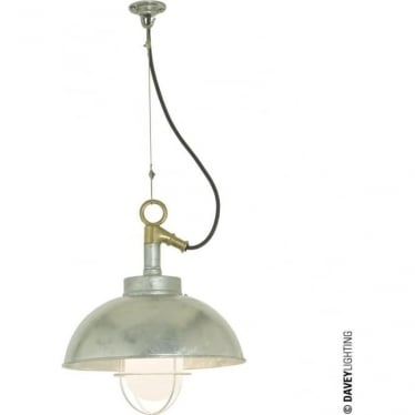 7222 Shipyard Pendant, Galvanised, Frosted
