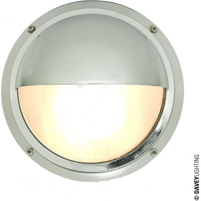 Davey Lighting 7225 Brass Bulkhead with Eyelid Shield, Chrome Plated