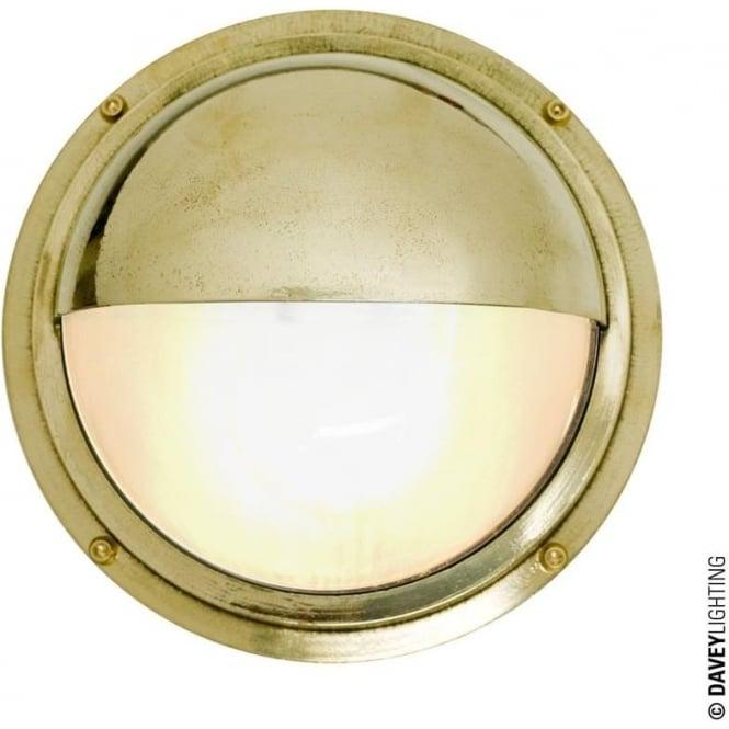 Davey Lighting 7225 Brass Bulkhead with Eyelid Shield, Polished Brass